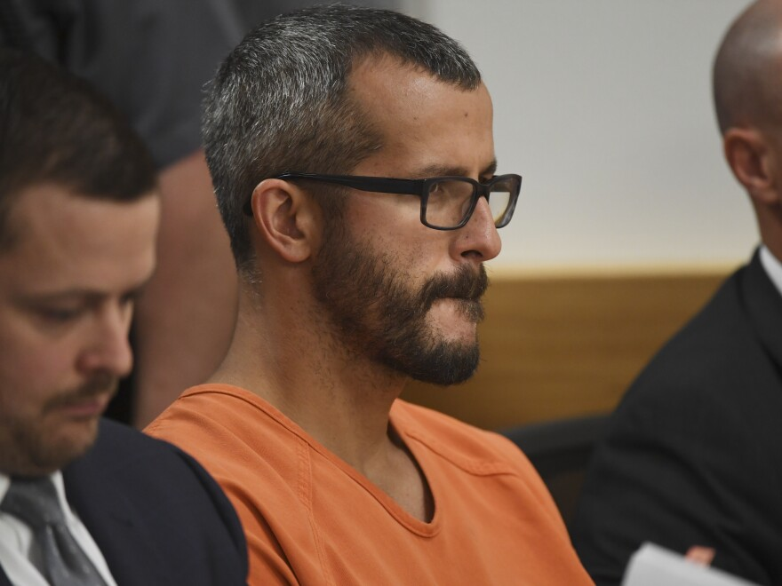 Christopher Watts in court for his arraignment hearing at the Weld County Courthouse in August in Greeley, Colo.