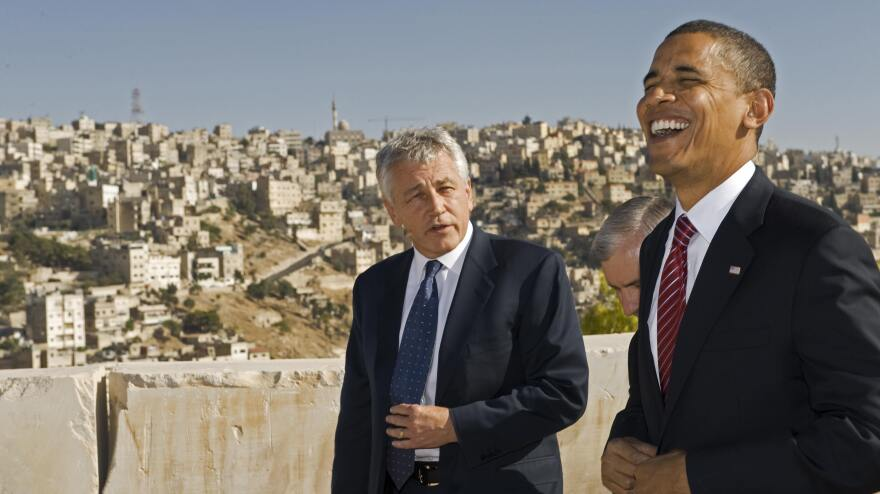 Sen. Chuck Hagel, R-Neb., and then-presidential candidate Barack Obama in Amman, Jordan, in 2008.