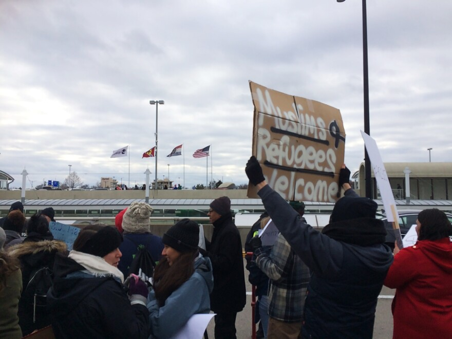 Several signs directly addressed the issue of immigration and freedom of religion. (Jan. 29, 2017)