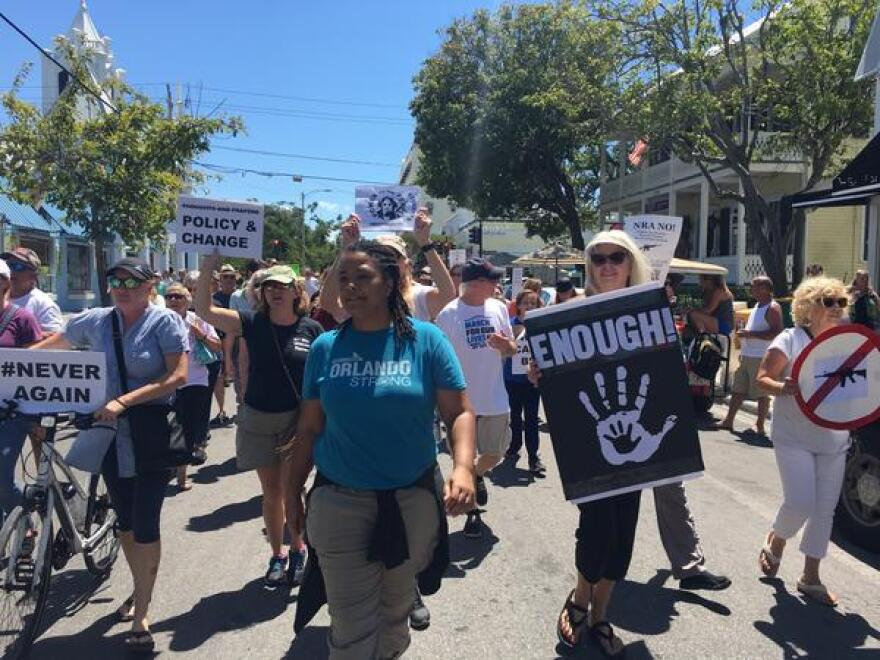 Equality Florida director Nadine Smith marching in Key West wearing a shirt honoring the Pulse nightclub shooting victims.