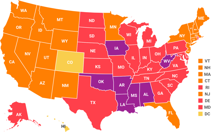The adult obesity rate was at or above 35% in seven states and at least 30% in 29 states. West Virginia has the highest adult obesity rate at 38.1% and Colorado has the lowest at 22.6%.