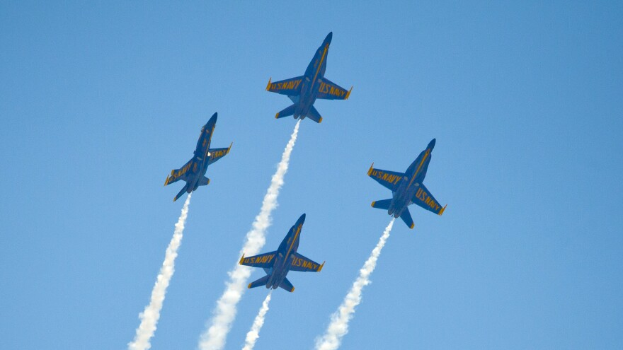 "The U.S. Navy's Blue Angels soar over the Florida Keys during a March 23 air show. The group has <a href=""http://blog.al.com/gulf-coast/2013/04/blue_angels_practices_shows_ca.html"">canceled several air shows</a> in <a href=""http://www.blueangels.navy.mil/show/"">April and May</a>, reportedly owing to budget cuts."