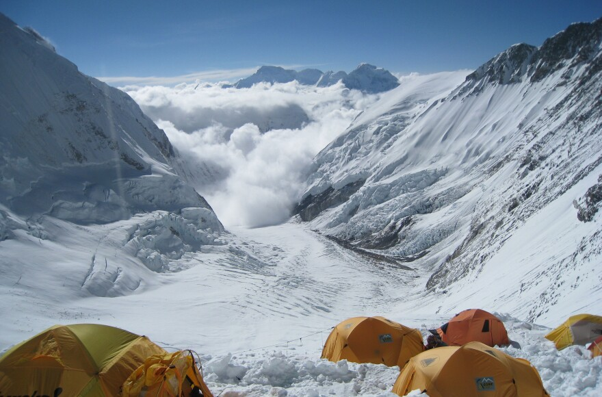 On Mount Everest, a fistfight allegedly broke out near Camp Three, between climbers and Sherpas. This file photo shows the view from Camp Three at 24,000 feet on the mountain's Lhotse Face.