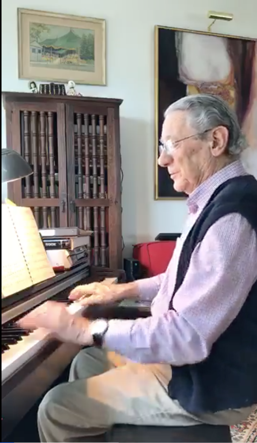 "Peter Fuchs performing as part on Facebook Live as part of the ""Stump the Maestro"" program. Everyday, Peter and his wife take requests from the Facebook audience to perform music."