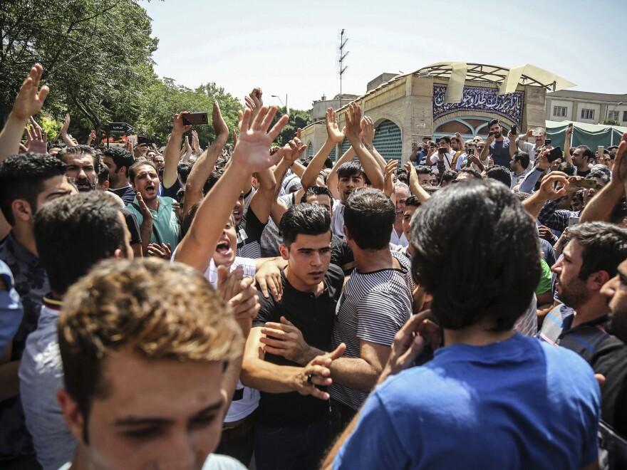 Protesters demonstrate in Tehran on June 25.