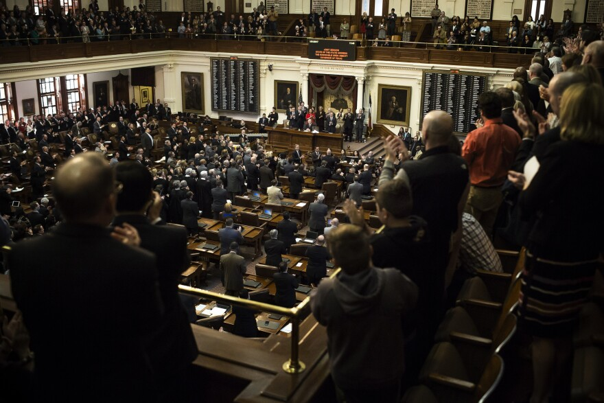 Texas Gov. Greg Abbot gives his annual State of the State address in the House of Representatives Chambers in the Texas State Capitol on Jan. 31, 2017.