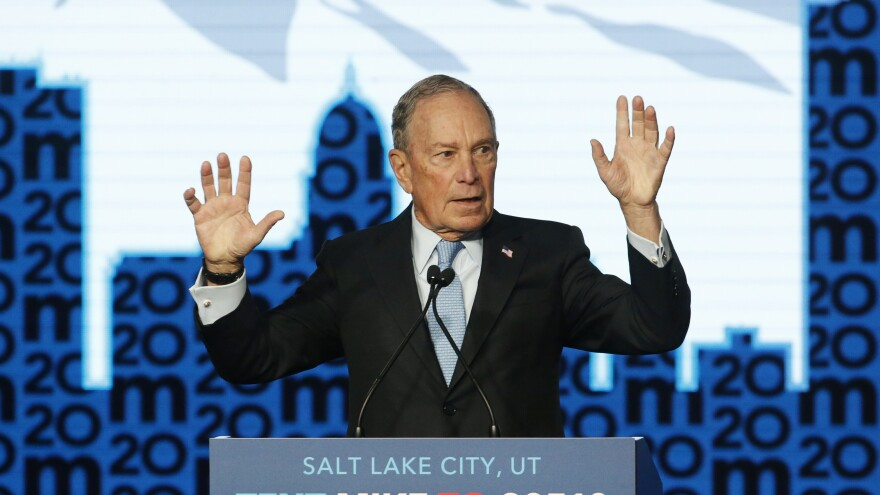 Bloomberg speaks during a campaign event in Salt Lake City. Utah holds its nominating contest on Super Tuesday, March 3.