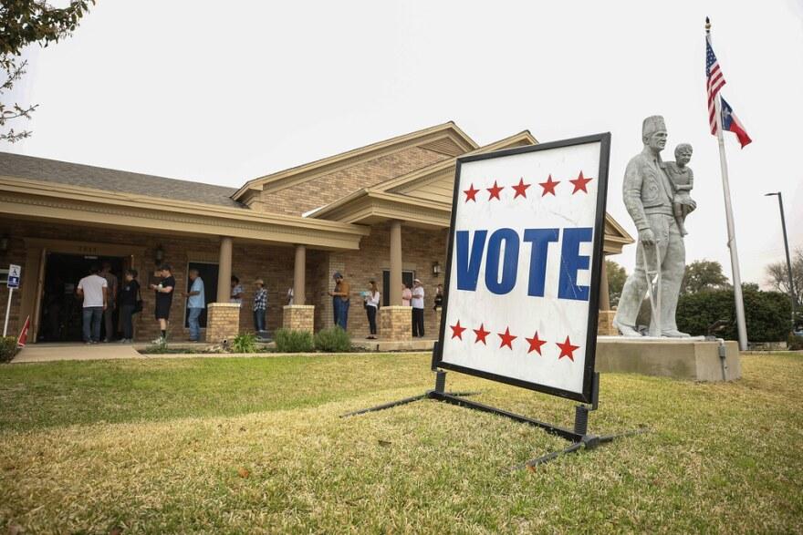 A vote sign outside the Ben Hur Shrine Temple.