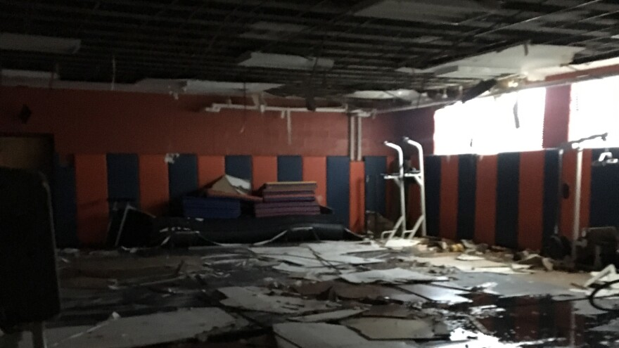 The wrestling room at Fredrick Douglass High School in Baltimore after pipes burst. Teacher Derek Bosshard says a handful of classrooms at the school are in similar condition.