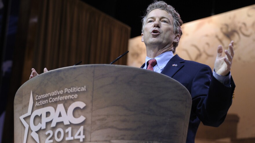 Republican Sen. Rand Paul of Kentucky speaks at the Conservative Political Action Committee annual conference in National Harbor, Md., on Friday.