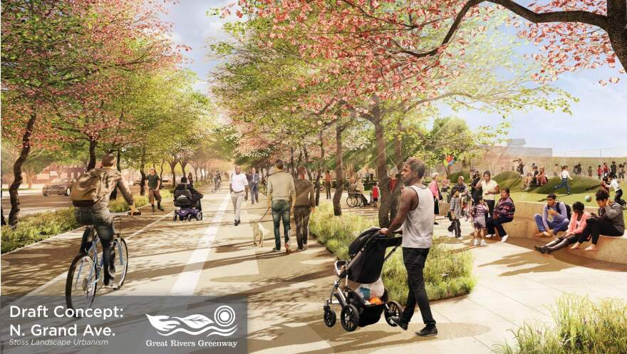 This draft concept image depicts a vision for a greenway segment along North Grand.