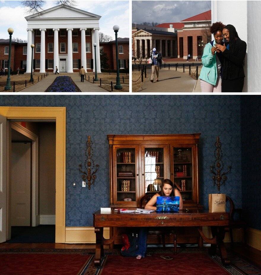 Scenes from campus. (Top left) The Lyceum, the administrative building that was at the center of the riots that erupted when James Meredith arrived on campus in 1962. (Top right) Students Gabrielle Murray and Breanna Lomax chat on campus. (Bottom) Jordan Potts studies in the Lyceum.