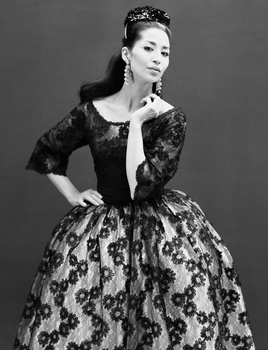 Model China Machado in a dress by Jacques Griffe, Paris, in August 1959.