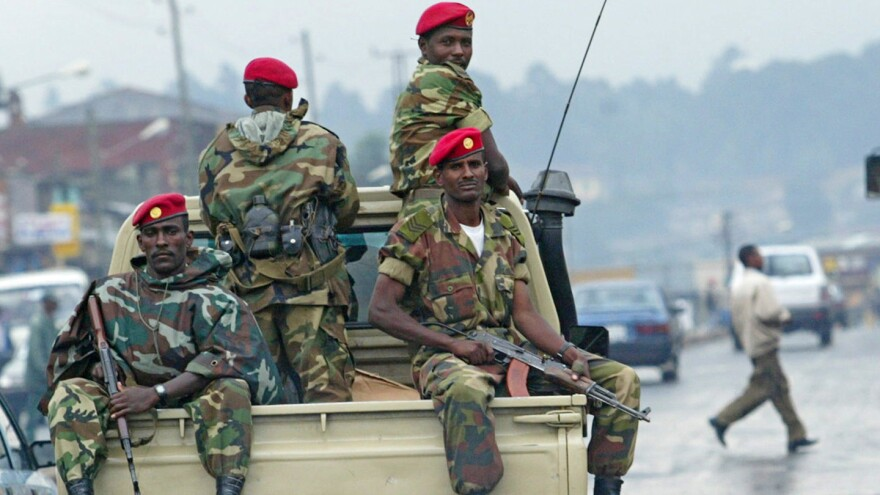 Members of the Ethiopian army patrol the streets of Addis Ababa in 2005.