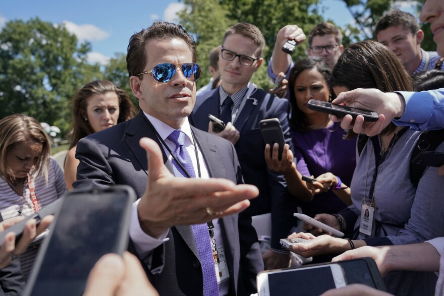 White House communications director Anthony Scaramucci speaks to members of the media at the White House in Washington, Tuesday, July 25, 2017. (Pablo Martinez Monsivais/AP)