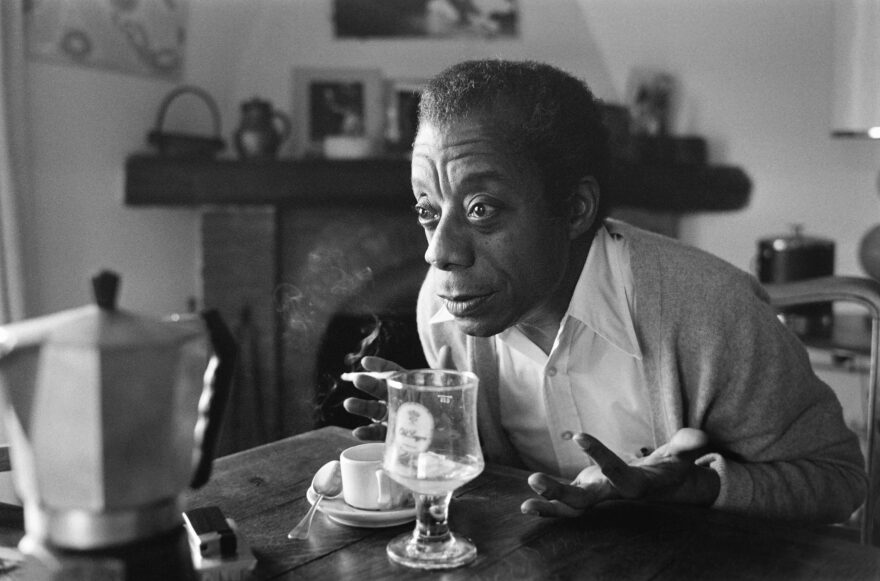 American novelist, writer, playwright, poet, essayist and civil rights activist James Baldwin poses at his home in Saint-Paul-de-Vence, southern France, on November 6, 1979. (RALPH GATTI/AFP via Getty Images)