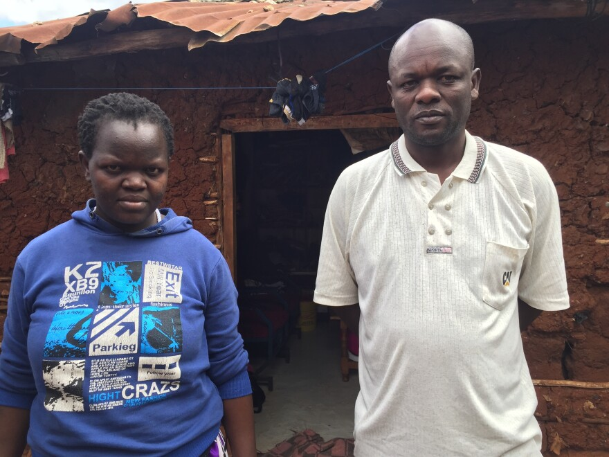 Everlyne Akeyo (left), and her husband Steve Oludhe are residents of Kibera. Steve worked as an electrician while his wife, who gave birth to a baby girl three weeks ago, had previously worked at a salon. Now he's out of work because of the coronavirus lockdown.