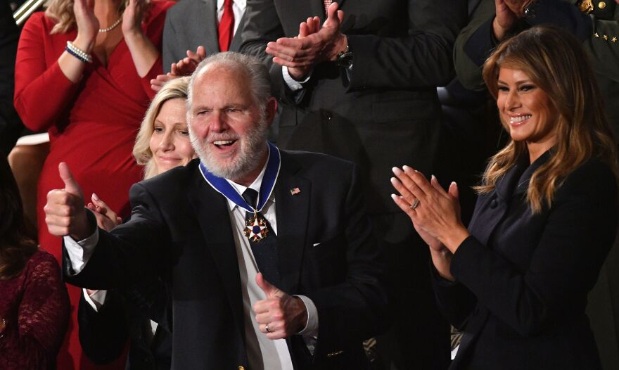 Radio personality Rush Limbaugh gives a thumbs-up after being awarded the Presidential Medal of Freedom by first lady Melania Trump during the State of the Union address.