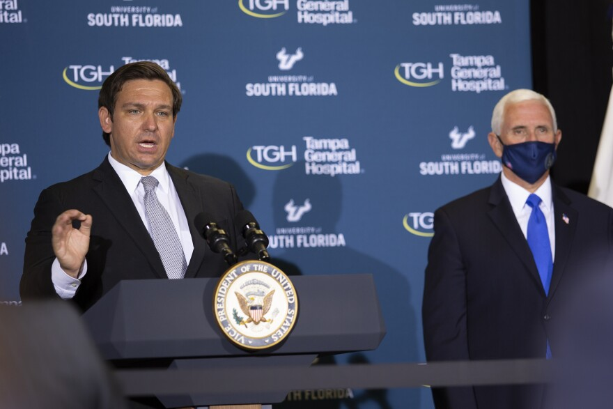 Gov. Ron DeSantis at the podium