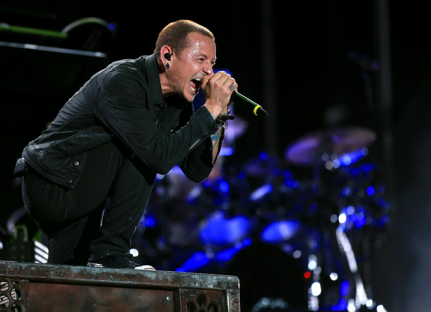 Chester Bennington of Linkin Park performs onstage during Rock in Rio USA on May 9, 2015 in Las Vegas.
