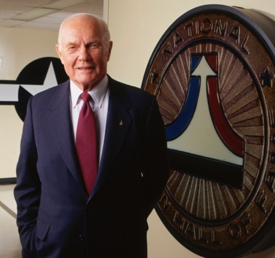 John Glenn on December 17, 1998, in Dayton for the 95th anniversary of the Wright's first flight.