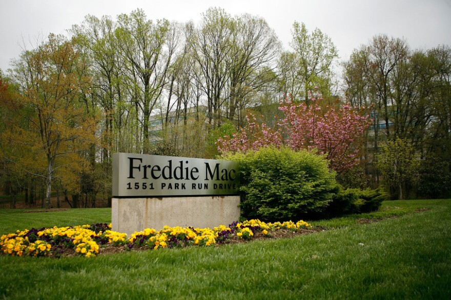 A sign for Freddie Mac in front of its headquarters in McLean, Va.