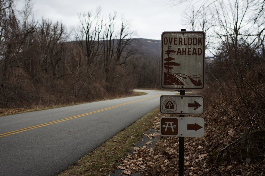 A sign marks the Three Ridges Overlook off of the Blue Ridge Parkway. That's the spot on the parkway nearest to the proposed pipeline crossing, and one of 26 places where the trail crosses the Blue Ridge Parkway.