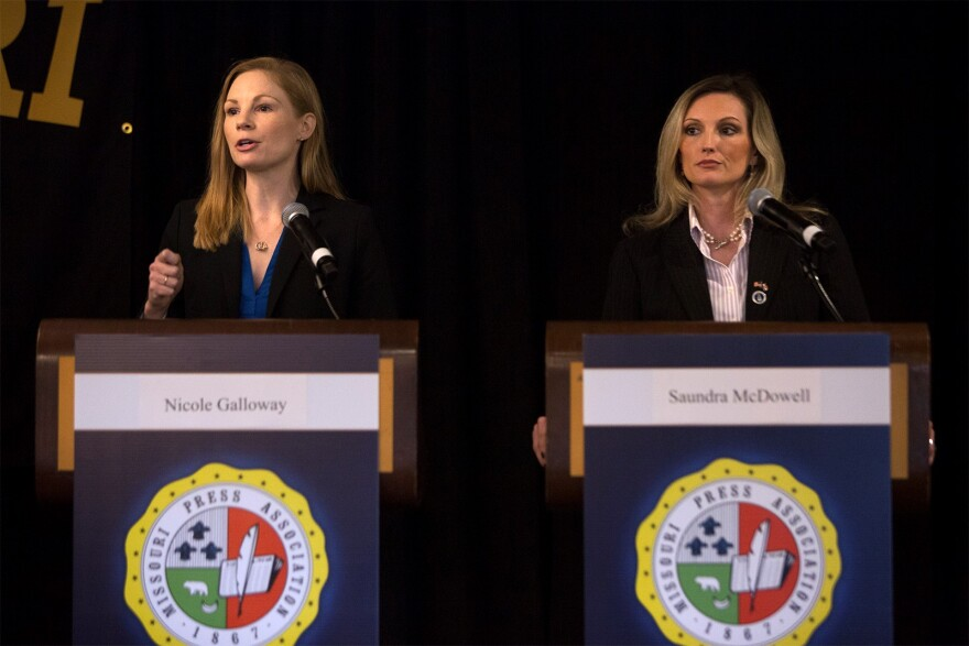 State Auditor Nicole Galloway, left, and her Republican challenger Saundra McDowell participated in a debate in 2018.