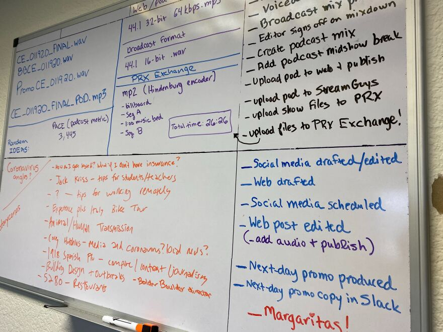 "A white dry erase board hangs on a wall, filled with writing about the Colorado Edition production process. Includes notes on what items to publish to which platforms and at what step that is done. The final item on the checklist is ""Margaritas!"""