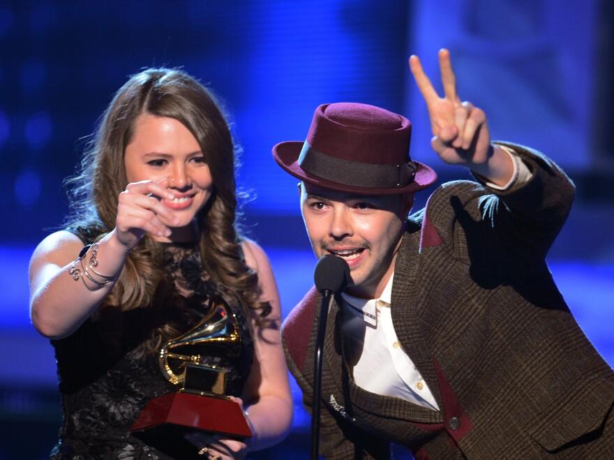 Jesse & Joy accept one of their four awards during the Latin Grammy Awards in Las Vegas on Thursday.