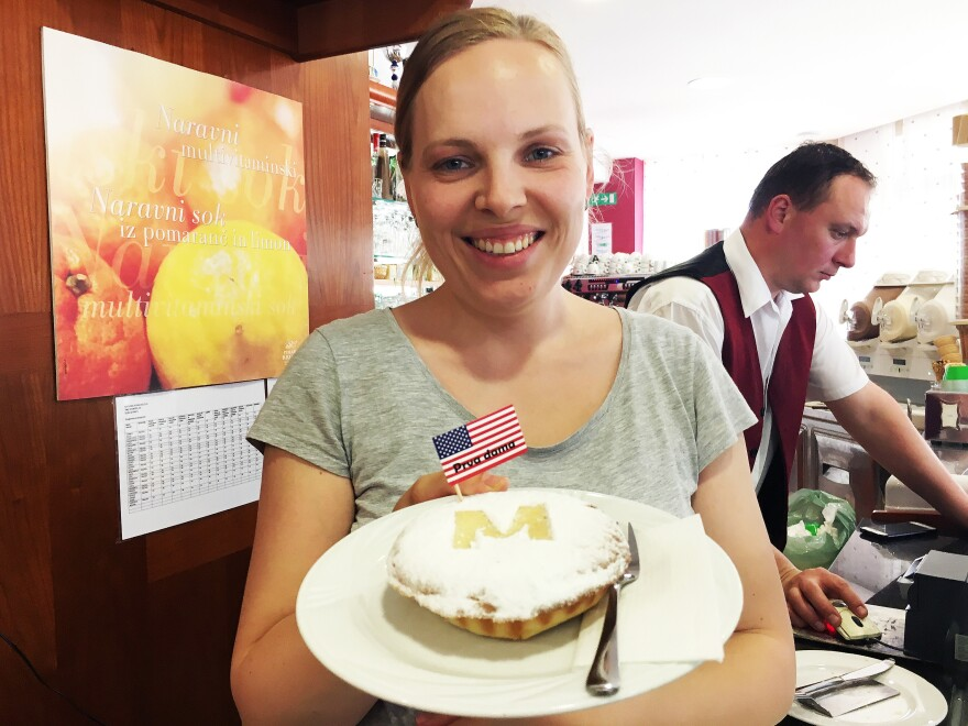"Maja Kozole Popadic, whose family runs the Kruhek bakery in Sevnica, makes an American-style apple pie that uses a local variety of Slovenian apples. Officially called First Lady Apple Pie, it's decorated with an M. ""Some people buy it because it can also mean Mom,"" Popadic says."
