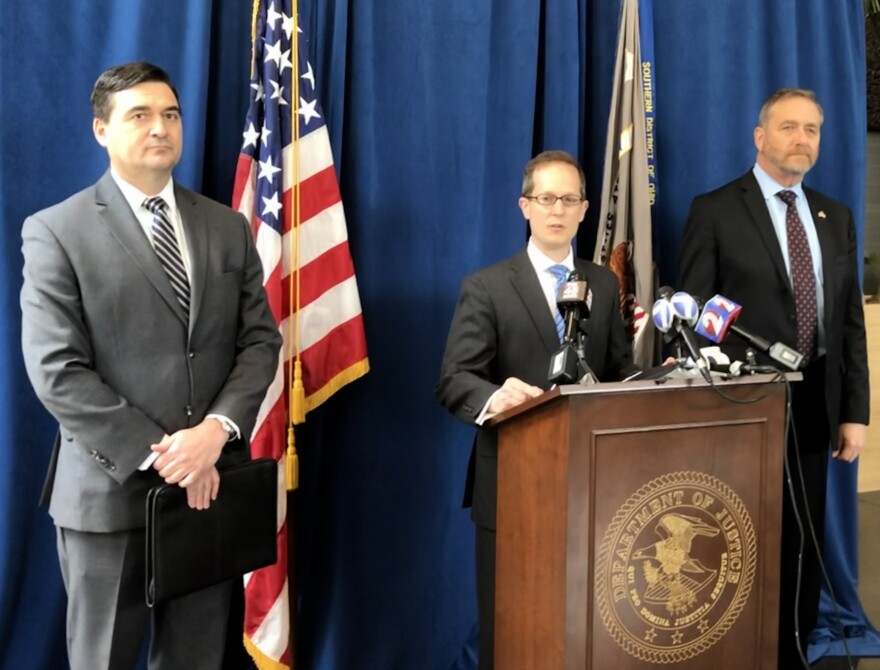 (from left) FBI special agent Joseph Deters, U.S. Attorney Benjamin Glassman, Ohio Attorney General Dave Yost