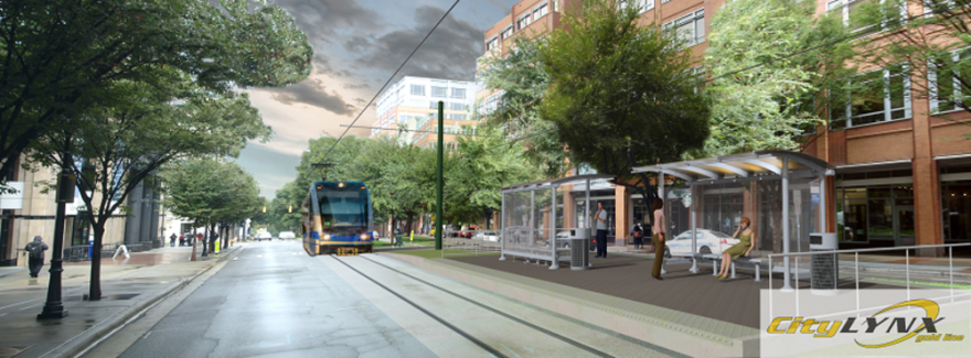 An artist's rendering shows the Lynx Gold Line Johnson & Wales stop on West Trade Street.