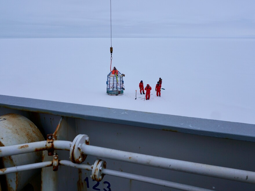 Members of the MOSAiC team also took manual ice thickness measurements using a drill.