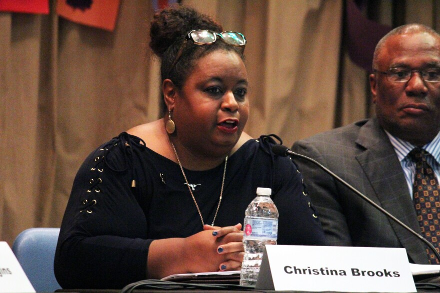 Christina Brooks answered questions at the October forum for Fort Worth's diversity and inclusion director candidates.