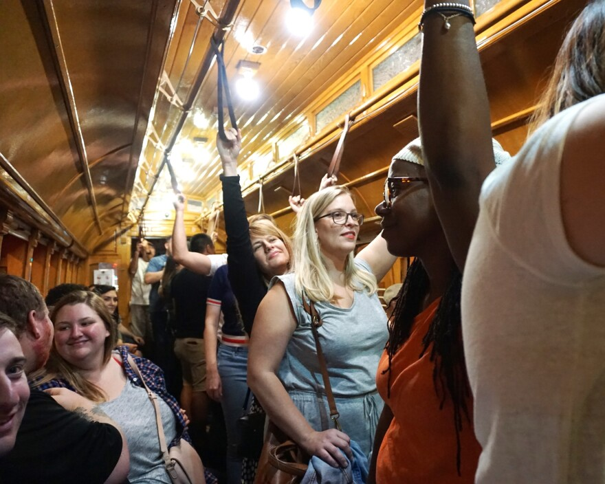 It was a standing-room-only affair on one of the trolleys last weekend.
