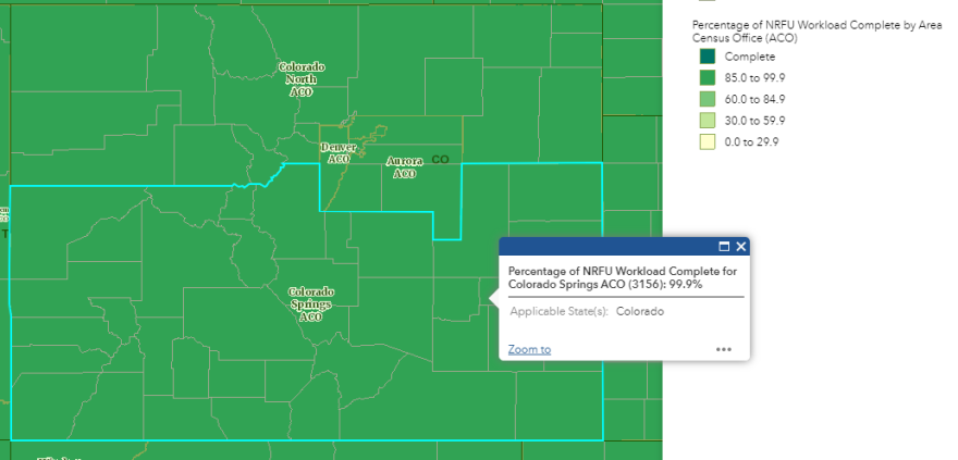 A map of Colorado's four Census regions showing that all 4 were 99.9% done with their caseload.
