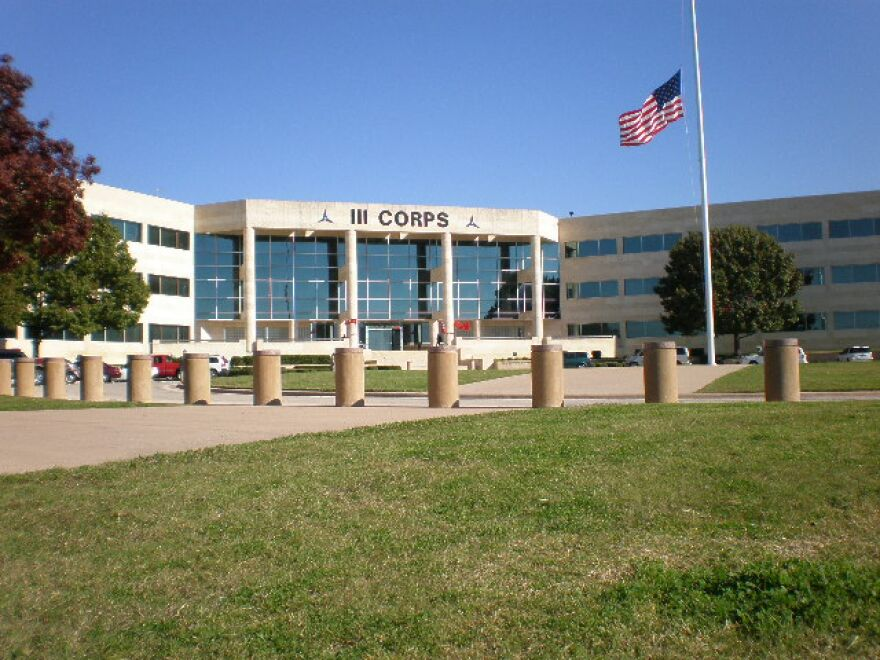 Exterior of III Corps Headquarters Bldg. at Fort Hood