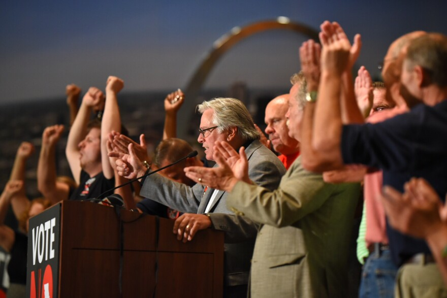 Mike Louis, the president of the Missouri AFL-CIO, declares victory in defeating Proposition A on August 7, 2018 at Sheet Metal Workers Local 36.