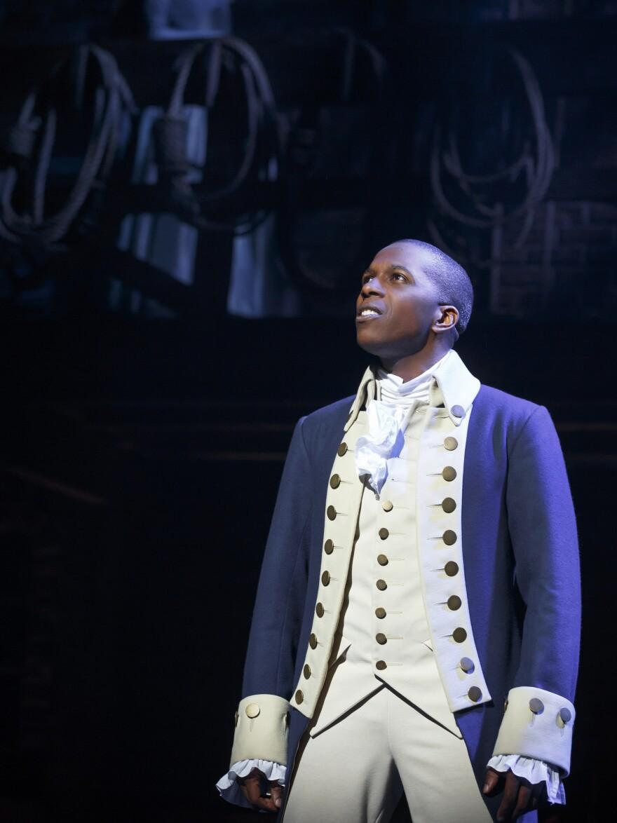 Leslie Odom Jr. as Aaron Burr in the Broadway musical <em>Hamilton. </em>