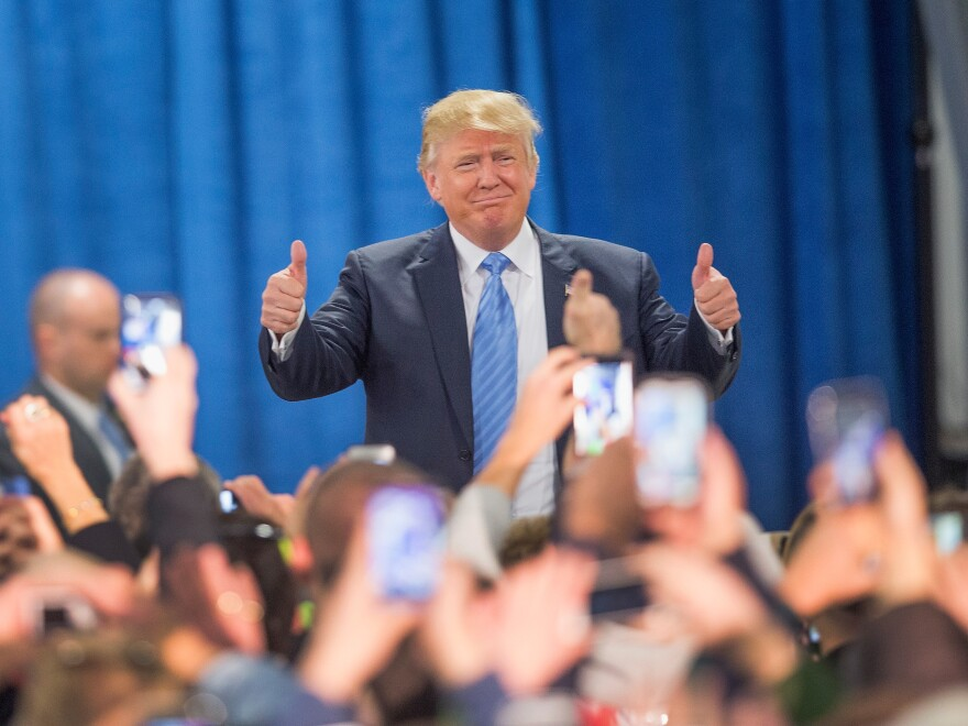 Trump greets his supporters at a Dec. 5 rally in Davenport, Iowa.