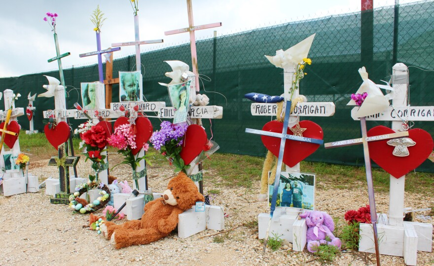 A roadside memorial in honor of the victims of the Sutherland Springs shooting taken on May 5, 2018.