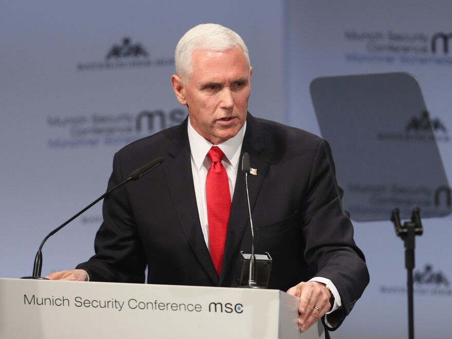 U.S. Vice President Pence got muted applause when he spoke about U.S. global leadership, noting NATO members have increased their defense spending.