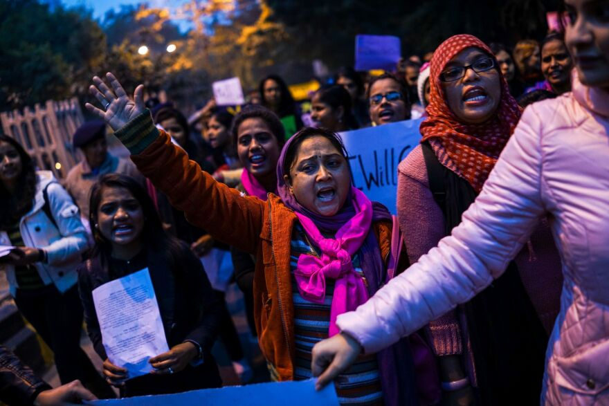 "Indian women in New Delhi participate in a nationwide ""I Will Go Out"" march to raise questions about safe access for women and marginalized communities in public spaces across India."