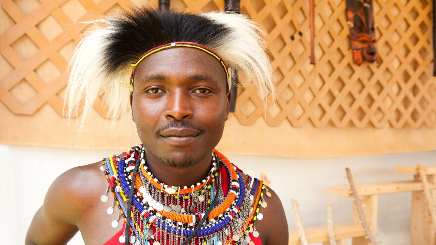 That's a monkey fur headdress — part of the Maasai tradition of wearing animal furs and skins. Nelson Ngotiek, a member of the Maasai, came to Washington, D.C., this summer.
