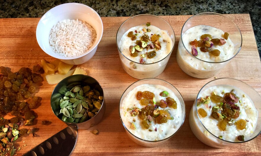 The ingredients for Kathy's Indian-spiced rice pudding. (Kathy Gunst for Here & Now)