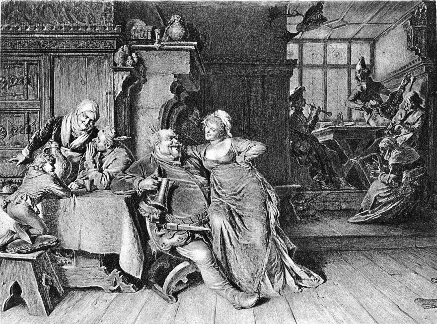 The libertine Falstaff sits with a woman on his lap and a tankard in his hand in an illustrated scene from one of William Shakespeare's <em>Henry IV </em>plays.