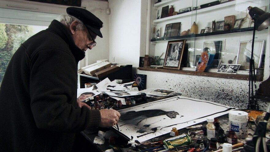 """Ralph Steadman starts a sketch by flinging ink onto his paper and then adding lines. """"You surprise yourself, and that's quite nice,"""" he says."""