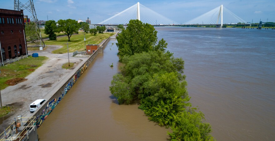 Flood walls hold off the rising Mississippi River north of downtown St. Louis. June 4, 2019.