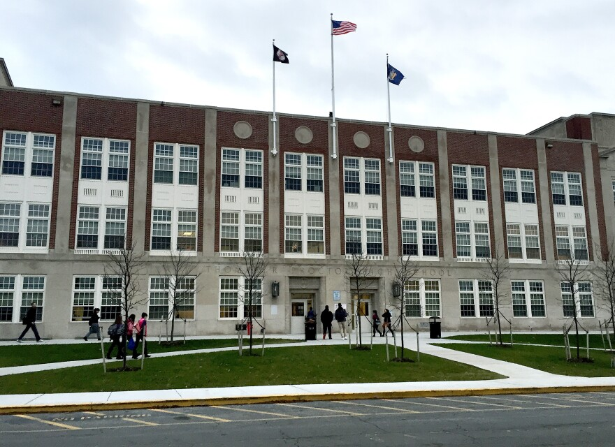 New York's Utica City School District is facing two lawsuits in federal court that say it discriminated against refugee students and did not let them enroll at Thomas R. Proctor High School, shown here.